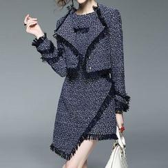 Alaroo - 套装: 无袖不对称A字连衣裙 + 西装外套