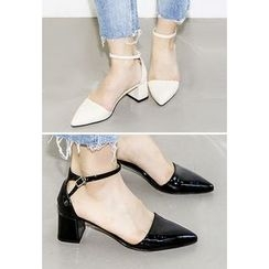 INSTYLEFIT - Pointy-Toe Ankle-Strap Sandals
