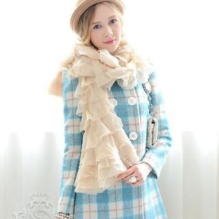 Dabuwawa - Faux-Fur-Collar Plaid Double-Breasted Coat