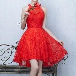 Luxury Style - Lace Midi Sleeveless Dip Back Evening Dress