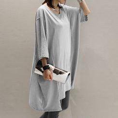 NANING9 - Oversized 3/4-Sleeve T-Shirt