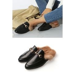 migunstyle - Metallic Faux-Fur Slid Sandals