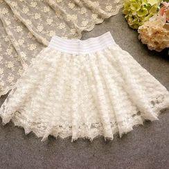 Cobblestone - Lace A-Line Skirt