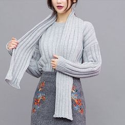chuu - Crew-Neck Rib-Knit Sweater with Scarf