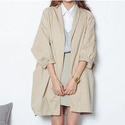MIKPO - Plain Open Front Long Jacket