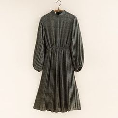11.STREET - Accordion Long-Sleeve Chiffon Dress