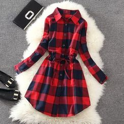 Clementine - 格子长袖衬衫裙