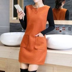 Marlene - Knit Sleeve Dual Pocket Shift Dress