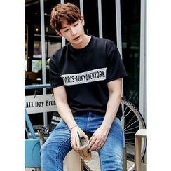 GERIO - Contrast-Trim Lettering T-Shirt
