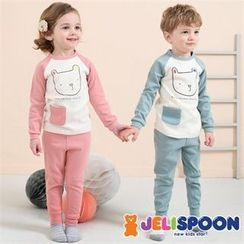 JELISPOON - Kids Pocket-Detail Printed Pajama Set