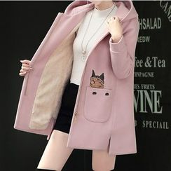 Marlene - Cat Embroidered Hooded Zip Coat