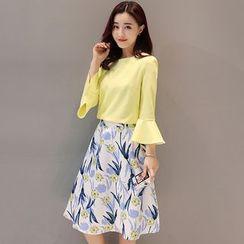 Mandalle - Set: Plain 3/4 Sleeve Blouse + Floral Print A-Line Skirt