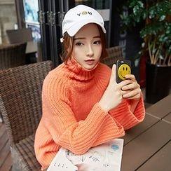 YAMI - Plain Turtleneck Chunky Sweater