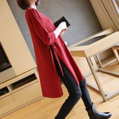 YIDIYU - 3/4 Sleeve Side Slit Long Sweater