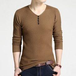 DUKESEDAN - V-Neck Henley Sweater