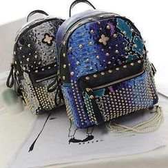 Secret Garden - Studded Snake Print Backpack