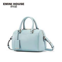 Emini House - Genuine Leather Boston Bag with Shoulder Strap