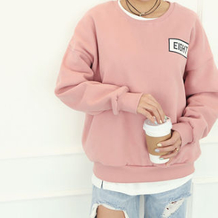 DANI LOVE - Lettering Drop-Shoulder Fleece-Lined Sweatshirt