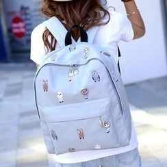 QeQ - Animal-Embroidered Cotton Backpack