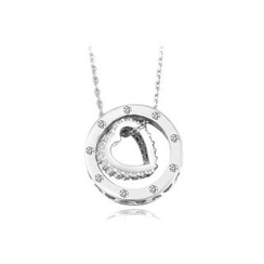Zundiao - Sterling Silver Rhinestone Ring Heart Pendant