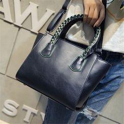 Nautilus Bags - Braided Handle Faux-Leather Handbag