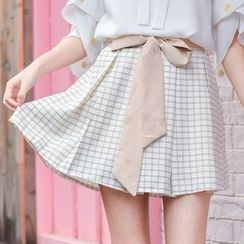 Moriville - Plaid A-line Skirt
