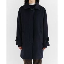 Someday, if - Hidden-Button Wool Blend Coat