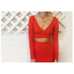 Aquello - Long-Sleeve Cut Out Bodycon Dress