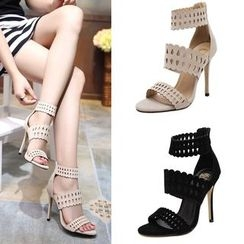 Anran - Perforated Heeled Sandals
