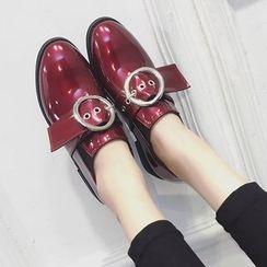 Shoeland - Chunky Heel Buckled Slip-Ons