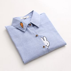 Vateddy - Bunny Embroidered Pinstriped Shirt