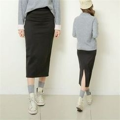 clicknme - Brushed-Fleece Lined Long Pencil Skirt