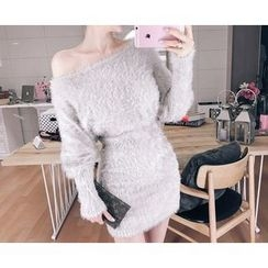 Marlangrouge - Furry-Knit Bodycon Dress