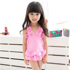 Charmaine - Kids Set: Flower Accent Swim Dress + Swim Bottom