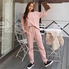QNIGIRLS - Set: Brushed Fleece Lined Sweatshirt + Sweatpants