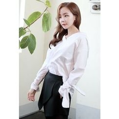 Dalkong - V-Neck Tie-Cuff Blouse