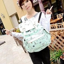 Miss Sweety - Anchor-Print Appliqué Canvas Backpack