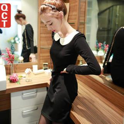 Q.C.T - Long-Sleeve Peter Pan-Collar Dress