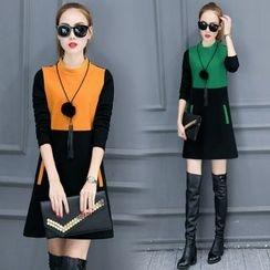 Shinbell - Color-Block A-Line Dress