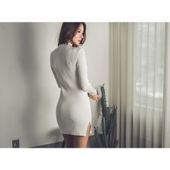 UUZONE - Mock-Neck Rib-Knit Bodycon Dress