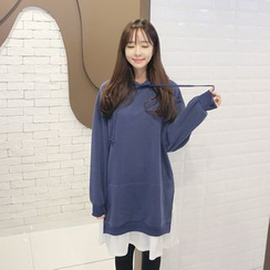 Envy Look - Layered-Hem Hooded Pullover Dress