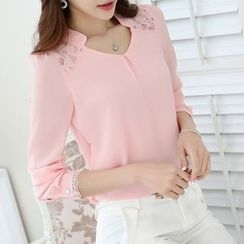 Coolvibe - Lace-Panel Chiffon Blouse
