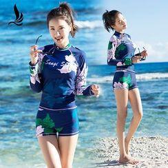 SANQI - Set : Floral Print Rashguard + Swim Shorts