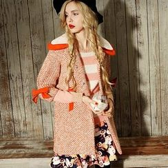 ELF SACK - Lace-Collar Bow-Accent Buttoned Coat