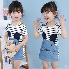 Merry Go Round - Kids Animal Stripe Short-Sleeve Dress