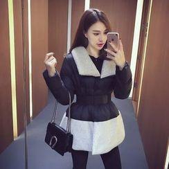 Ashlee - 拼接A字夾棉大衣