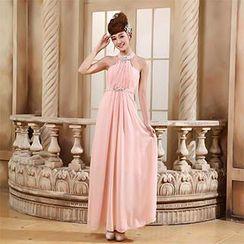 Bridal Workshop - Jeweled Halter Neck A-Line Evening Gown