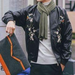 Streetstar - 刺繡人造皮飛行夾克