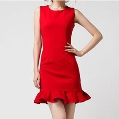 KAKO KARA - Ruffle Hem Sleeveless Sheath Dress