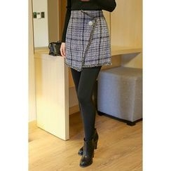 migunstyle - Wrap-Front Checked Skirt